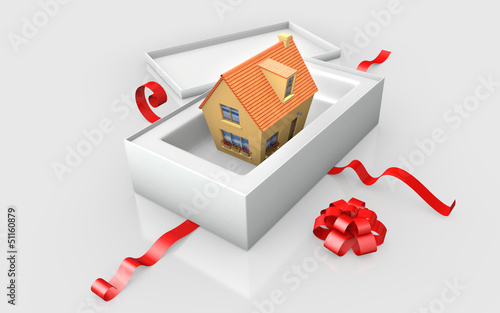 a house in a white cardboard box with red ribon