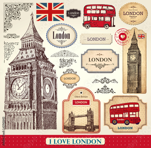 Tuinposter Vintage Poster Vector set of London symbols