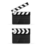 Movie clapper board set isolated