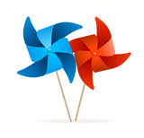 vector colorful windmills