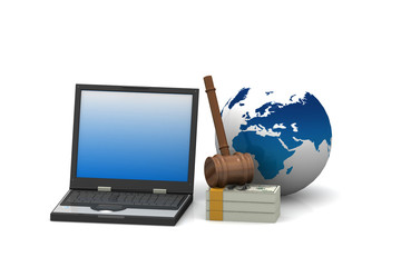 judges court gavel on a laptop computer and dollar