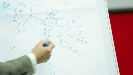 Lecturer drawing a scheme on a board during a seminar