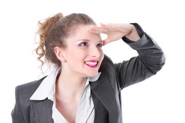 Auszubildende freut sich auf ihre Zukunft - isoliert business