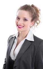 Bewerbungsfoto einer Frau als Bankkauffrau