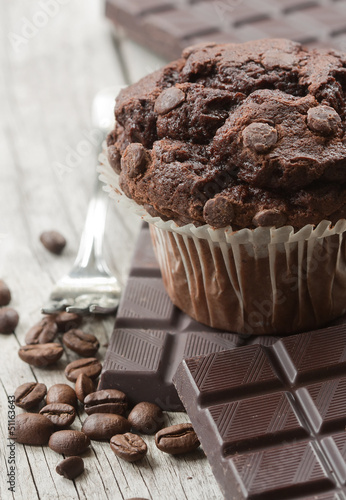 Chocolate muffin with dark chocolate, coffee beans