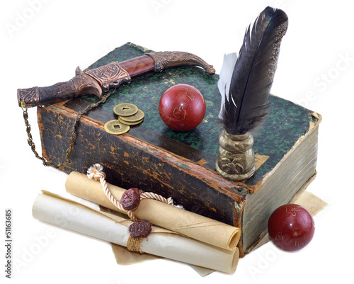 Old book with knife and red balls