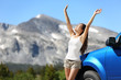 Summer car travel freedom woman in Yosemite Park