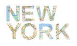 New York words cutted from map