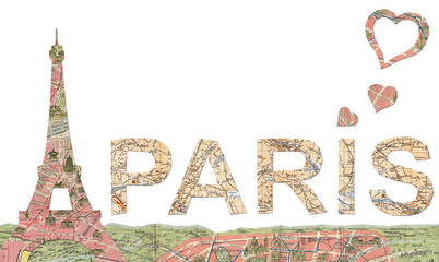 Paris word with Eiffel Tower and love hearts
