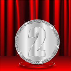 silver medal with a number two on a background red window shades