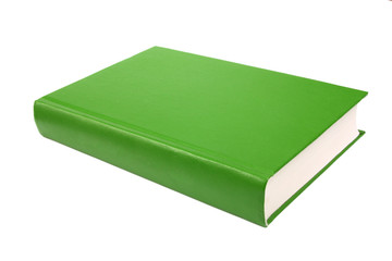 thick green book isolated on white background