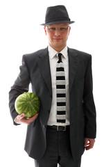 Geschäftsmann mit Wassermelone
