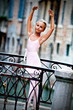 Venice, Italy - lovely ballerina on the bridge in Venice