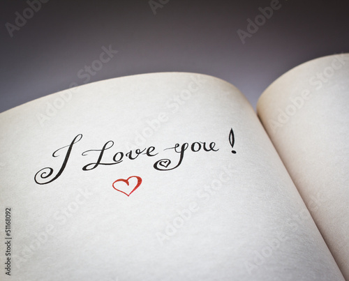 I love you words in the open book with grey background
