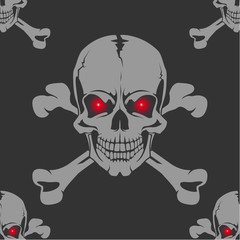 Seamless background with skull and crossbones
