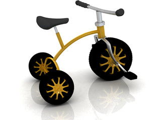 children's bike with automobile wheels on white background