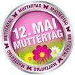 "Button Blumen ""12. Mai Muttertag"" pink/silber"