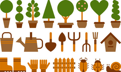 set of garden tools and topiary in terracotta pots