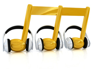 headphones and 3d note on a white background