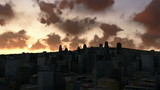 City skyline at sunrise, time lapse clouds