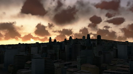 City skyline at sunrise, time lapse clouds, night to day