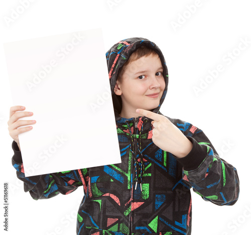 teenager standing by white blank card