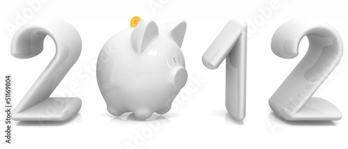 2012 a new year financial concept On a white background
