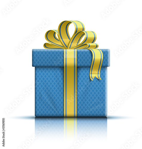 Blue gift box with yellow ribbon and bow