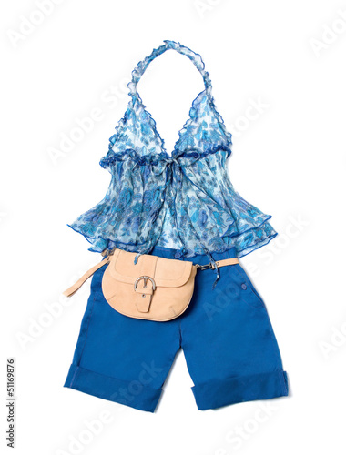 Open front tie empire line porcelain pattern halter klein shorts