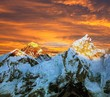 Evening colored view of Everest from Kala Patthar - Nepal