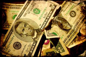 Retroplakat - Dollarscheine