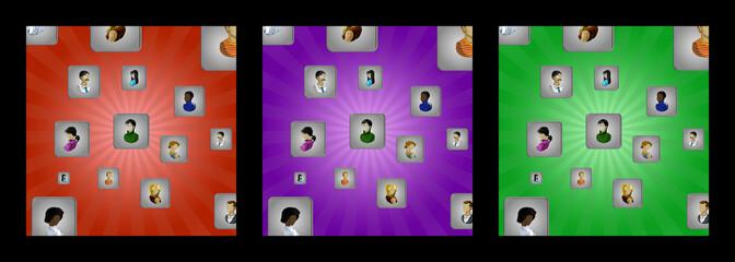 Sfondi con cubi e icone utente di uomini e donne