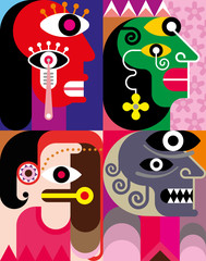 Four Faces - abstract vector illustration