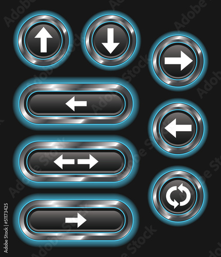 Blue Glowing Metallic Arrow Buttons