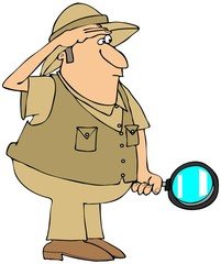 Safari man with magnifying glass