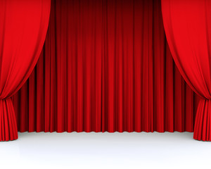 3D red theatre curtain