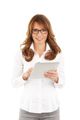 Business woman holding a digital tablet