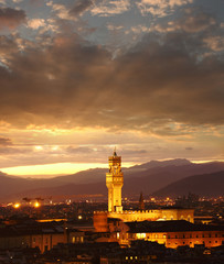Florence city in the evening, Tuscany, Italy