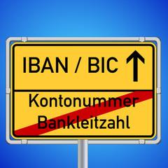 Schild Kontonummer Bankleitzahl - IBAN BIC