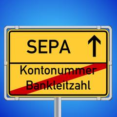 Schild Kontonummer Bankleitzahl - SEPA