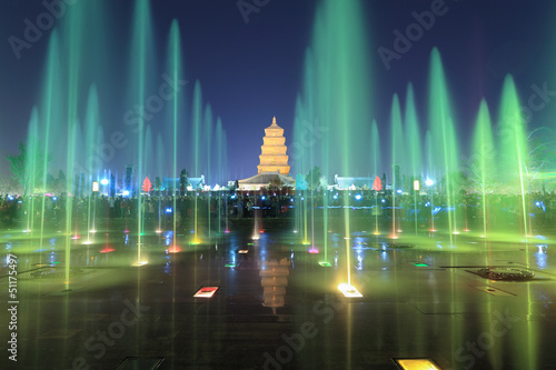 xian at night, pagoda with fountains - 51175497