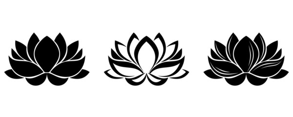 Set of three silhouettes of lotus flowers. Vector illustration.