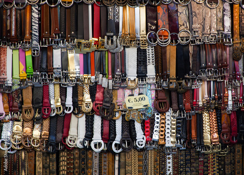 Belts selling at the market