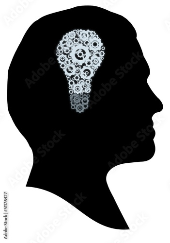 创意图形外形孤立巧妙的思维思考想像力插图机浓度灯泡男人男性脸头