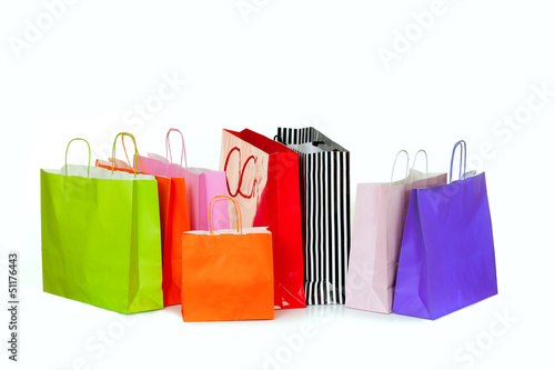 Colorful shopping bags isolated on white.