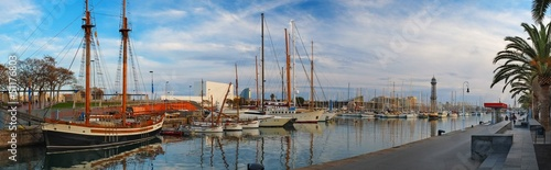 View of harbour with yachts in Barcelona