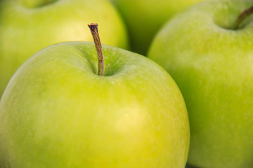 fresh green apples close-up ,