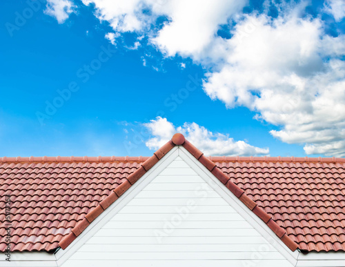 red rooftop against blue sky - 51177253