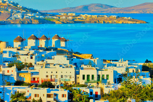 Greece Mykonos, windmills view with buildings and sea for backgr