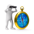 compass on white background. Isolated 3D image